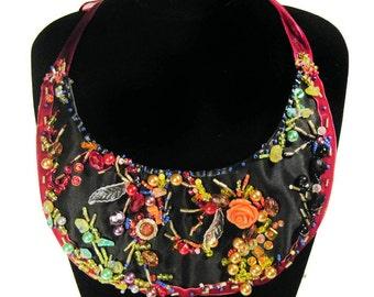 Gothic Statement Necklace, Beaded Semiprecious Stones Necklace, Fashion Jewelry, Bib Necklace