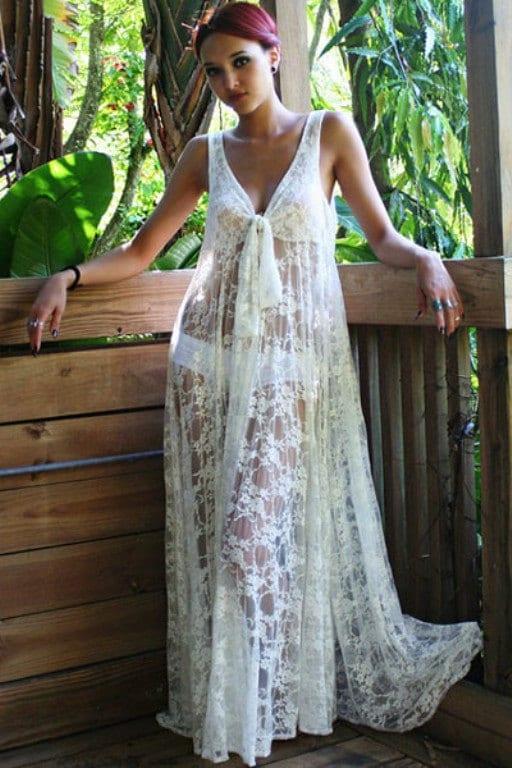 Lace beach cover up dress white beach wedding dress by for Cover up wedding dress