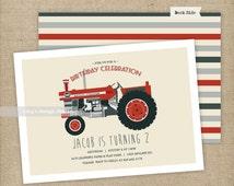 Vintage red tractor birthday invitation | Printed or Printable