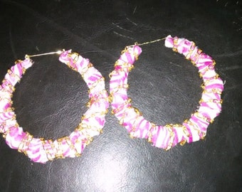 Clearance!! Fabric bamboo hoops with gold chain