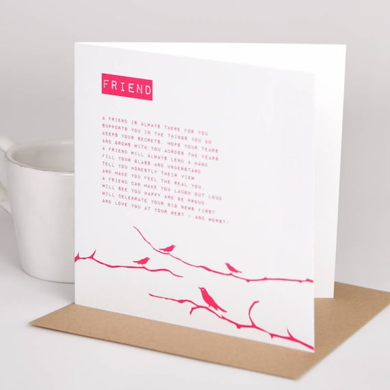 Poem Cards For Friends Friend Bird Poem Card Best