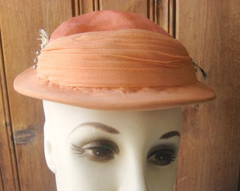 Pastel Orange Cap with Feathers - Vintage Cap by Leamington for Marshall Fields and Co. - Designer Ladies' Formal Mod Hat - Women's Small