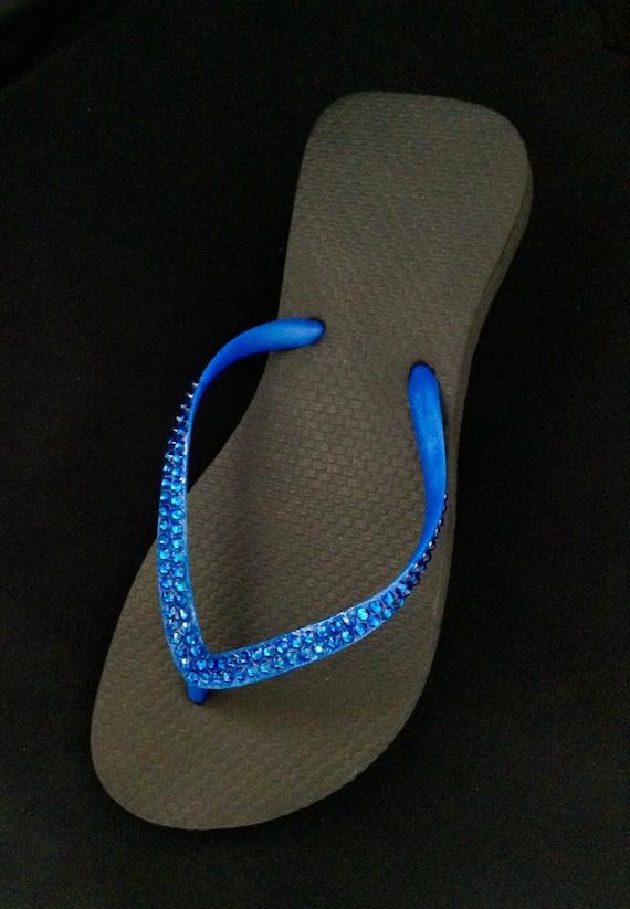 Black Electric Blue Slim Flip Flop Sandals Brazilian Cariris flat w/ Swarovski Crystal Custom Rhinestone Jewel Beach Thongs Bling  Shoes