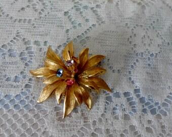 Vintage Costume Jewelry BSK Rhinestone Flower Brooch Gold Tone Mid Century Modern Fashion Accessory Multi colored Stones Petals