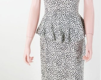 Vintage 1980s Black & White Animal Print Body Con Bandage Peplum Dress by Byer Too \\ Small - Med \\ S - M \\ Size 9 \\ Made in USA