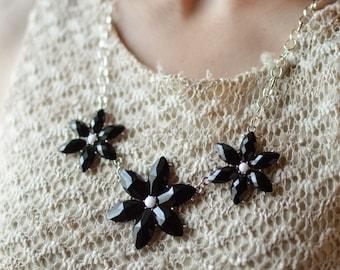 Ebony Flower Statement Necklace