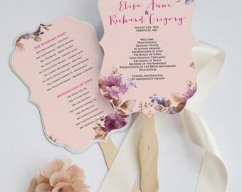 Botanical program fan - Wedding ceremony program with flower design - Blush and purple, customizable. Covington design