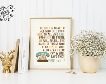 INSTANT DOWNLOAD, Psalm 145:17-18, The Lord is Near to All Who Call, Telephone, Scripture Printable, No. 567