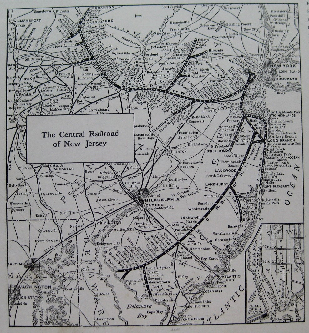 1924 CENTRAL RAILROAD Of New Jersey Map Black And White