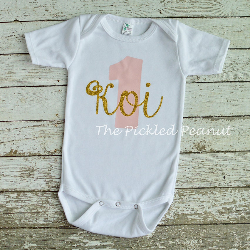Pink Gold 1st Birthday Onesie 1st Birthday Shirt Birthday