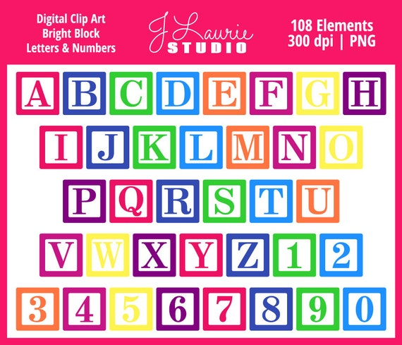 Digital Alphabet Letters Clipart-Bright Block Letters-Baby