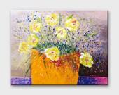 Horizontal Painting flowers Acrylic art Horizontal art of flowers Canvas art horizontal flowers painting Floral art painting Canvas painting