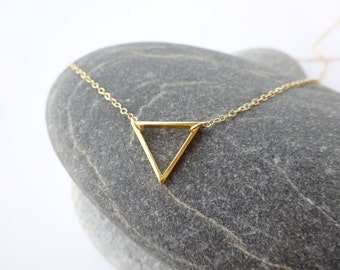 Gold Necklace, Gold Triangle Necklace, Delicate Gold Necklace, Gold Layering Necklace, Simple Gold Necklace, Simple Gold Triangle Necklace