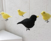 Birds nursery mobile - Black and yellow woodland crib mobile - yellow nursery decor - New baby shower gift for baby boy knitted birds decor