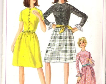 "Vintage 1965 Simplicity 6293 One Piece Dress Sewing Pattern Size 13 Juniors Bust 33"" UNCUT"