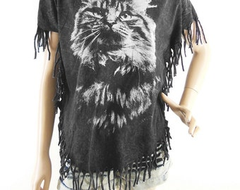 Cat T Shirt Cat Shirt Cool Top Hipster tee Cat Bat Sleeve Bleached Shirt Women Shirt Screen Print (Measurements - fits great from S - M)