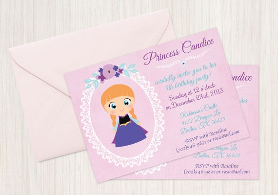 Frozen Princess Anna and Princess Elsa Customizable Birthday Invitations, Princess, Girl Birthday Invitations, Frozen Birthday, Printable