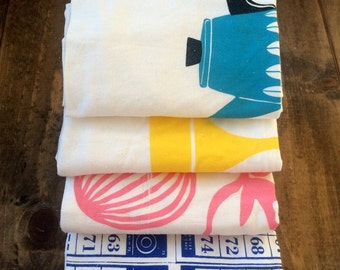 4 Cotton Flour Sack Tea Towels Multipack: DISCONTINUED PRINTS