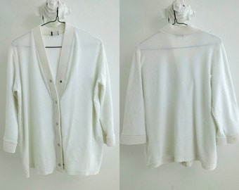 Vintage White Terry Cloth Beach Cover-up / Large