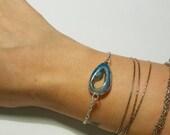 Turquoise Geode Druzy Bracelet in Multi-Toned Metals