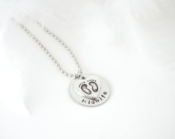 Midwife Gift Hand Stamped Disk Necklace - Metal Disk - Heart Feet Charm - Birthing Gift Jewelry