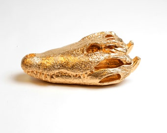 OVERSTOCK SALE - Gold Crocodile Skull Table Top Decoration