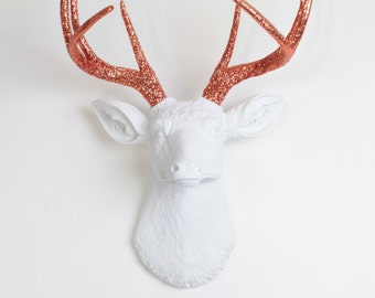 The Aria- White W/Copper Glitter Antlers Resin Deer Head- Stag Resin White Faux Taxidermy - Charming Wall Faux Taxidermy Home Decorations
