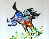 """HORSE WINDOW Kiln Fused Stained Glass 2.5 x 3.5""""  ACEO Suncatcher, Wall Hanging"""