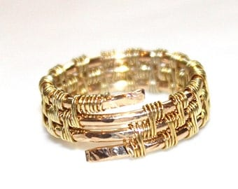 Gold Basket Weave Ring Gold Filled Ring Handmade Ring Wedding Band Gift for Her Simple Ring Gold Stacking Ring Hammered Ring FizzCandy