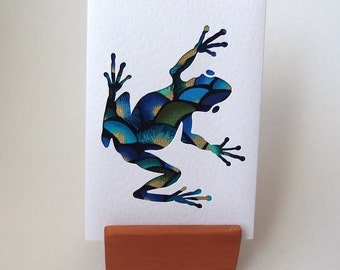 """Green Blue Gold Frog Fabric Card - ONE CARD 6"""" x 4"""" with envelope.  Blank for any occasion. Funky Frog. Handmade Cards. Hop hop"""