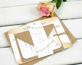 Rustic wedding invitation - bunting
