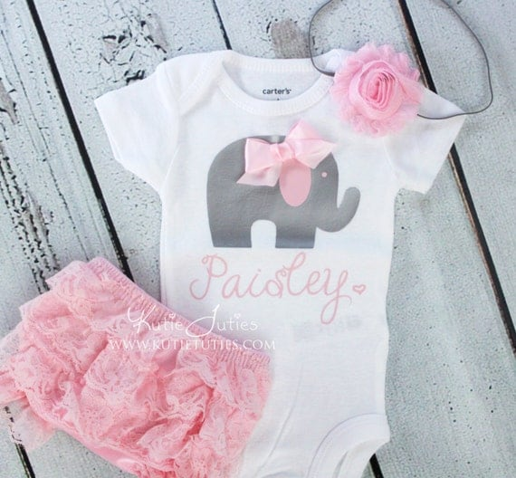 Elephant Onesie Set- Pink, Gray, Bloomer, Headband, name, personalized, baby girl, newborn, toddler, cake smash, birthday, bring home