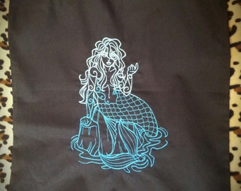Mermaid Siren Embroidered Cotton Tote Bag