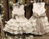 Off white flower girl dress Vintage wedding Boho flower girl Rustic flower girl dress Country flower girl Linen ruffle flower girl dress