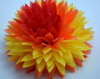 "One ""Fire 2"" Tissue paper Pom Poms // Wedding Decorations // Party Decorations // Pom Poms"