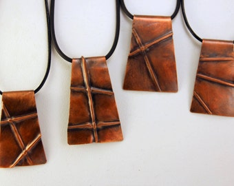 "Textured Copper ""Tectonics"" New Madrid Necklace"
