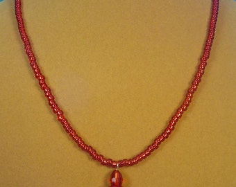 """Bright, sparkling RED 18-1/2"""" glass necklace - N322"""