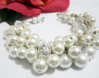Chunky Ivory Pearl Bracelet, Pearl Cluster Bracelet, White Pearl Bracelet, Wedding Bridesmaid Jewelry, Wedding Bridesmaid Bracelet