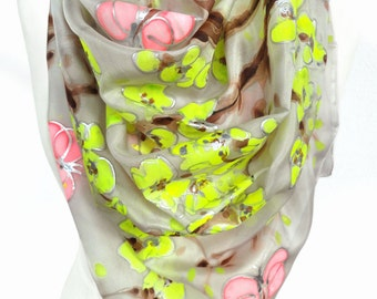 Square Silk Scarf. Hand Paint Scarf. Woman Floral Shawl. Unique Art on Silk. Birthday Gift. Woman Scarf. Sik Shawl. 35x35in. Ready2Ship