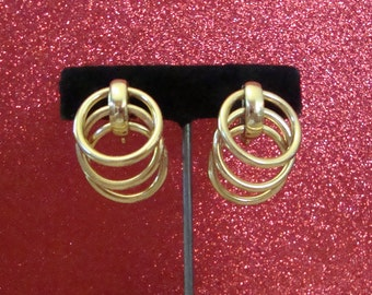 Trifari Vintage Layered Loops Gold-tone Clip-On Earrings