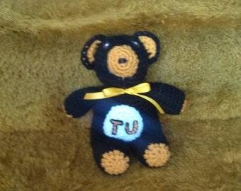 Towson University Teddy, Black, gold and white