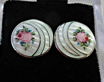 Vintage Sterling Silver Guilloche Enamel Pink Rosebud Earrings With Screwbacks