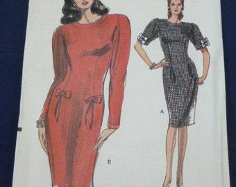Vogue 7602 SZ 12 Pattern Very Easy Misses Dress 1989 Uncut