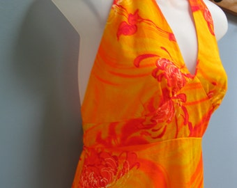 Vintage 1970's Orange Halter Maxi Dress Hawaii