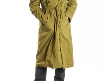 Vintage Mens Green Trench Coat Rain Coat Sherlock Raincoat Homme Indie Hipster Classic 70s Rain Flap Seventies Size Medium Large Yugoslavia