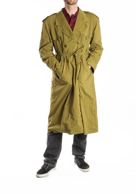 vintage mens green trench coat rain coat sherlock raincoat. Black Bedroom Furniture Sets. Home Design Ideas