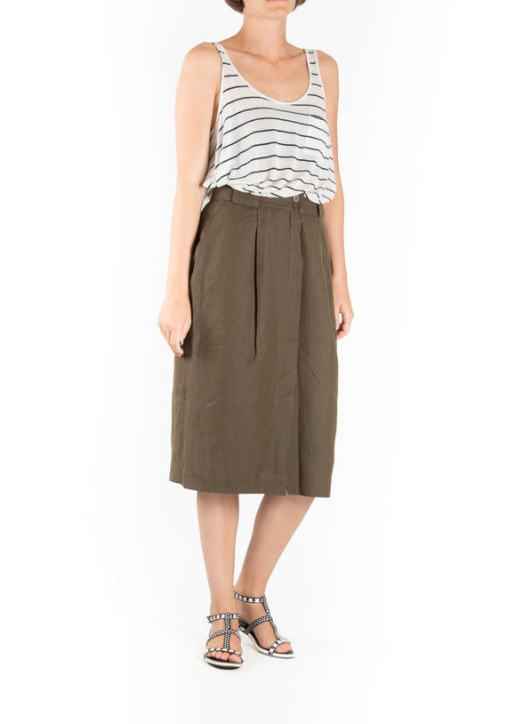 Khaki Green Midi Skirt | Jill Dress