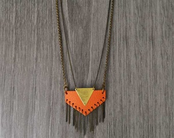 Brass and leather geometric necklace. Orange Leather Chevron Pendant Necklace. Gold brass jewelry. Geometric necklace with multiple chain