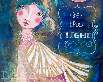 BE THE LIGHT archival print acid free luster paper angel wings moon night colorful art inspirational art home decor mixed media collage