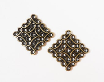 Bronze Connector Charms 14x14mm Antique Brass Metal (Bronze) Diamond Square Chandelier Earring Findings Bracelet and Necklace Connector 10pc